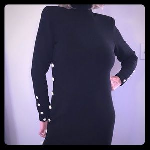 Lillie Rubin black gown, jeweled detail and slit